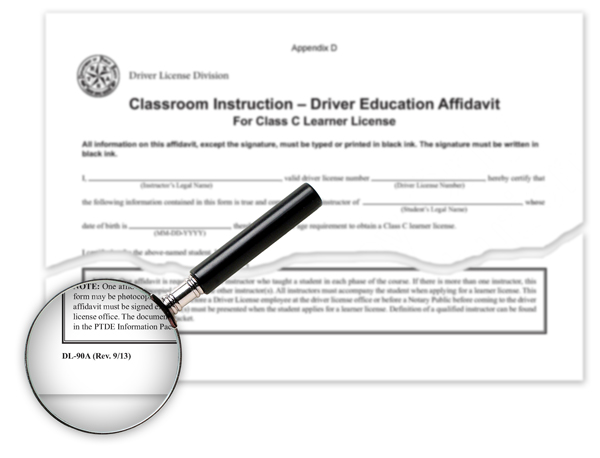 Texas Parental Driver Education Affidavit, DL-90A and DL-90B