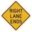 Tennessee Warning Road Signs | Right Lane Ends